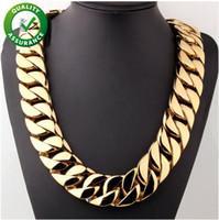Wholesale heavy curb chain resale online - Stainless Steel Jewelry Hip Hop Designer Necklace mm Super Heavy Curb Cuban Boys Mens Chain Gold Tone L Punk Necklace Luxury Cuban Link