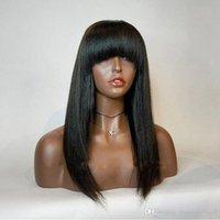 lange glatte haare schlagen schwarze frauen großhandel-Synthetische Lace Front Perücke Mit Bang Glueless Lange Schwarze Gerade Hochtemperaturfaserhaar Synthetische Lace Perücken Für Schwarze Frauen