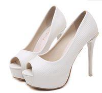 elfenbein peep toe high heels großhandel-Elegante weiße Elfenbein Peep Toe Plattform High Heels Pumps Braut Brautjungfer Hochzeit Schuhe 12cm Größe 34 bis 40