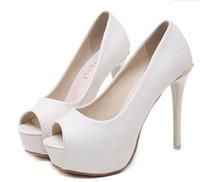 fildişi gözetleme ayak önü topuklu toptan satış-Zarif beyaz fildişi peep toe platformu yüksek topuklu pompaları gelin gelinlik düğün ayakkabıları 12 cm boyutu 34 40