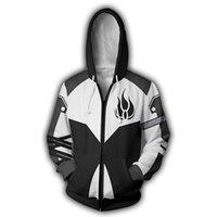 erkekler için anime ceketi kostümleri toptan satış-Erkekler RWBY Blake Belladonna 3D Baskı Hoodies Tişörtü Rahat Ceket Anime Cosplay Kostüm Zip Up RWBY Hoodie