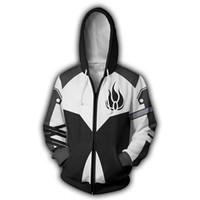 camisola com zip sweatshirt venda por atacado-Homens RWBY Blake Belladonna 3D Imprimir Hoodies Moletons Casuais Jaqueta de Anime Cosplay Zip Up RWBY Moletom Com Capuz
