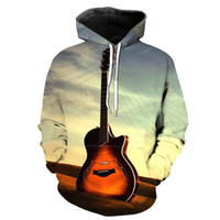 Wholesale natural guitars for sale - Group buy NEW ARRIVAL Vintage Guitar Pattern Printing Stereo Paste Bag Casual Hoodie for Young Men Designer Hoodies Fashion Hipster Hoodies