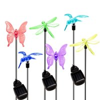 сад бабочка стрекоза солнечный свет оптовых-6шт солнечный свет сада на улице, изменение цвета декоративный свет солнечной энергии Hummingbird бабочки Dragonfly для Патио Lawn Yard Тропы