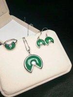 ingrosso set di gioielli di giada-Autentico anello ciondolo in giada naturale smeraldo naturale con ciondolo in argento 925 con certificato