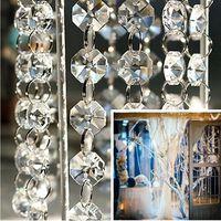 perles de décoration de mariage achat en gros de-33ft / 66ft / 100ft DIY Clair Cristal Acrylique Perle Guirlande Lustre Suspendu Fournitures De Mariage Home Fashion Decor