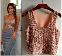 ingrosso cime scintillanti nere-Summer Black White Gold Rosa Sparkly Women Crop Top Tank Sexy Lady Girls con paillettes in pizzo Bustier Crop Top