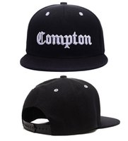 Wholesale compton baseball cap hat resale online - COMPTON Lette Baseball Cap Black Adult D Embroidery Hats Adjust Casual Unisex Snapbacks Peaked Sun Cap Hip Hop Hats Flat Brim