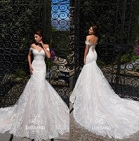 Wholesale lace chapel train mermaid wedding dress for sale - Elegant Lace Mermaid Wedding Dresses Off The Shoulder Tulle Applique Court Train Plus Size Wedding Bridal Gowns With Lace Up BC1208