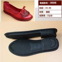 ingrosso scarpe spesso in gomma sollevata per le donne-Scarpe da donna in pelle suole tendine suole spesse in gomma cucita a mano morbida antiscivolo resistente all'usura