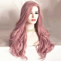 Wholesale pinking hair resale online - Women Fashion Synthetic Pink Hair Wig Long Wavy Full Wigs Cosplay