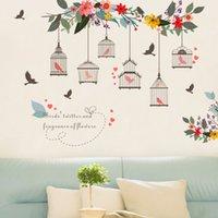 ingrosso pareti di disegno della vite-Vendita al dettaglio 3 stili Bambini Cartone animato PVC fiore vite gabbia per uccelli Adesivi murali TV sfondo decorazione murale Carte da parati decorazioni per la casa forniture per feste