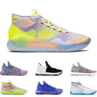 ingrosso kd scarpe bambini-scarpe da basket da uomo KD 10 12 EYBL 90S KID WARRIORS HOME Wolf Grey FINALI MULTI COLORE Sneakers sportive Kevin Durant taglie 7-12