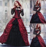 vestido de fiesta desnuda de encaje negro al por mayor-2020 Tamaño del Victorian gótico de Halloween Una línea de vestidos de boda Negro y rojo de cuello alto de encaje transparente de manga larga vestido de novia Partido Plus