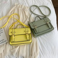 Wholesale yellow school bags resale online - New Candy Color Women Messenger Bag Yellow Cute Girl School Crossbody Bag Small Square Teenagers Shoulder Bag Handbag Sac