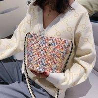 lindos bolsos para la escuela al por mayor-Mini bolso de las mujeres del estilo coreano de la moneda de la perla de tejidos de lana Bolsa de Patchwork informal bolso de escuela del hombro empaqueta para chicas adolescentes #ZB linda