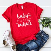 ingrosso maglietta rossa del bambino-Bambino è freddo fuori T-shirt Donna Causale paio Tshirt Carino vacanza camicia manica corta Harajuku Rosso Camicia Ray Charles Tops Y19051104