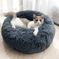 Wholesale round beds resale online - Pet Dog Bed Sofa Bed Comfortable Donut Cuddler Round Dog Kennel Ultra Soft Washable Dog and Cat Cushion Bed Winter Warm Sofa