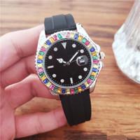 kristal hediye saati toptan satış-Yüksek kalite en marka lüks tasarımcı bayan saatler elmas otomatik takvim izle Bayanlar Rhinestone Kız için Siyah kristal saat hediye