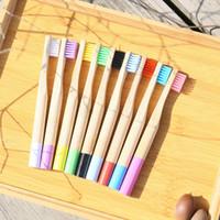 tipos de pasta de dientes al por mayor-Los niños de bambú cepillo de dientes Cepillos de dientes desechable Ronda Handle Ngradable plástico-Libre Oral Care Cepillo de dientes 8 colores para niños de bambú del cepillo de dientes