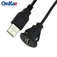 rallonges usb câble mâle femelle achat en gros de-ONKAR Accessoires de voiture USB 2.0 mâle à femelle voiture encastré extension câble van tableau de bord encastré double prise USB GPS