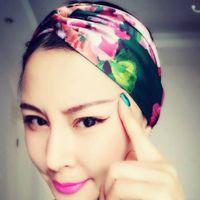 bufandas diademas al por mayor-Diseñador diadema cabeza bufandas para mujeres flores y colibríes impresión de lujo de seda banda de pelo cruz con elástico 4 colores turbante