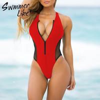 Sexy zipper bikini women 2019 Mesh push up bathers beach wear swimwear High cut bathing suit Black swimsuit one piece monokini