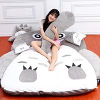 totoro bed toptan satış-Karikatür Totoro yatak yatak tatami yastıklı sevimli karikatür Totoro yatak katlanır paspas uyku pedi çıkarılabilir ve yıkanabilir