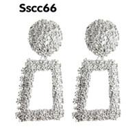 büyük yılbaşı toptan satış-Sscc66 Bırak Küpe Metal gümüş Küpe Band Büyük Küpe Kadın geometri Büyük Brinco Kulak Oorbellen Abartı Noel Hediyesi