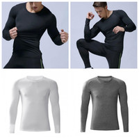 Wholesale tight clothes for men for sale - Group buy Football Training Tights Outdoors Long Sleeves Run Clothing Compress Motion Elastic Force Fitness Clothes For Man New Style zxH1