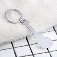 Wholesale key guitars for sale - Group buy Creative Music Guitar Metal Bottle Opener Beer Open Key Chains Switch On With Metal Pendant Keychain Feet Beer Openers