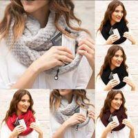 Wholesale infinity scarves online - Zipper Pocket Loop Scarf Colors Women Winter Warm Hidden Pocket O Ring Scarves Convertible Infinity Scarf Party Favor OOA6176