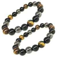 Wholesale obsidian bracelet men for sale - Group buy Free DHL MM Women Men Bracelets Natural Stone Bracelets Tiger Eye Hematite Black Obsidian Stone Tricolor Bracelet D814Q