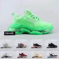 zapatillas verdes para mujer al por mayor-Balenciaga men shoes 2019 Green Triple S Sneakers suela clara Cojín para hombre diseñador de zapatos para mujer hombre Triple-S Sneakers zapatillas deportivas cestas tamaño 11