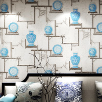 Wholesale blue white porcelain fabric resale online - New Chinese classical wallpaper living room study teahouse TV background wall wallpaper vintage blue and white porcelain home wall decor