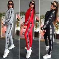 sıcak set baskı toptan satış-Sıcak moda kadınlar kazak fermuar rahat spor takım elbise baskılı mektup ceket hoodies ve pantolon iki parçalı kıyafetler setleri eşofman boyutu S ~ XL