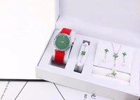 en iyi yüzük markaları toptan satış-(Ücretsiz bilezik, yüzük, küpe, kolye) Yeni marka İzle setleri kadın saatler Bayanlar için Deri kayış Bilek İzle en iyi Sevgililer hediye relogios