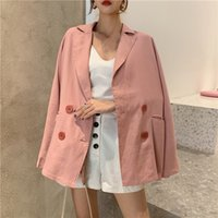 veste coréenne rose achat en gros de-Korean 2019 Femmes oversize blazers et vestes décontracté Pink Blazer Feminina Chic Chaqueta Mujer Elegant Blaser Feminino