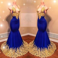 Wholesale spaghetti strapped black long dress for sale - Popular Gold Appliques Royal Blue Prom Dresses Sexy Sleeveless Spaghetti Straps Long Evening Gowns BC0622