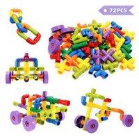 pipa de agua de juguete al por mayor-Construcción Bloques de construcción Tubo de tubo de agua creativo Juego de enclavamiento Puzzle Toy para niños Niños - 72 bloques en 7 colores