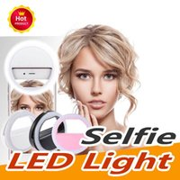 caixa de telefone universal venda por atacado-Universal selfie Ring Light LED recarregável Flash Clip Câmera para IP 7 8 Phones X HTC Samsung com Retail Box
