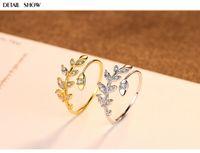 Wholesale olive leaf silver resale online - HOT S925 sterling silver ring olive branch leaf female ring DD26