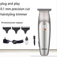 bıçaklı makaslar toptan satış-Elektrikli Saç Kesme Giyotin T Bıçak Jilet Adam Kuaförlük Şekillendirici Baldheaded Kafatası Berber Tıraş Kesme Yağı Saç Kesimi Sakal Tıraş Makinesi