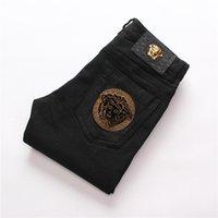 erkekler için moda ayakkabı kot toptan satış-Pop Fit Şık Erkek Giyim Özgün Tasarım Erkekler Moda Jeans Düz Pantolon İnce Ve Rahat Elastik Stil Jeans Fgh888
