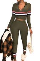 leggings sexy deux pièces achat en gros de-Army Green Survêtement Femmes Deux Pièces Set Haut et Pantalon Survêtement Leggings Sexy Bodycon 2 Pièce Survêtements