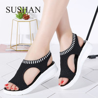 ingrosso cunei neri solidi-Sandali da donna Sandals donna Solid Solid T Zeppe Madre Sandali Air Stretch tessuto basso sandali Scarpe per le signore d'estate Student