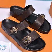 Wholesale ladies gentlemen for sale - Group buy Hot Sale Sandal Luxury bom BOM DIA FLAT MULE Designer Lady Gentlemen Colorful Canvas Letter Anatomic Leather slide style Model H02