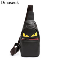 мужская сумка для слинга оптовых-Fashion Men Chest Bag PU Leather Casual Sling Crossbody Bag Multipurpose Travel Phone Black Anime Cartoon Shoulder  New