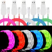 flaş usb kablosu led toptan satış-Samsung S8 S9 S10 HTC LG için Micro USB Kablo 1m 3 ft Ekstra Parlak Parlak LED Işık Cable c LED Akan Görünür kablo Yanıp sönen Tipi