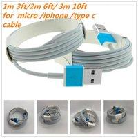 cabo de sincronização usb 2m venda por atacado-1 M 3FT 2 M 6FT 3 M 10FT Micro USB Tipo de Cabo de Carregador C de Alta Qualidade de Sincronização de Dados s6 S8 S9 Cabo Para Telefone Inteligente X XR